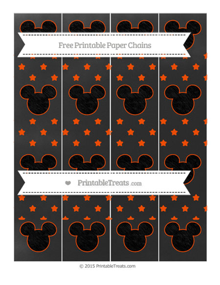 Free Orange Star Pattern Chalk Style Mickey Mouse Paper Chains