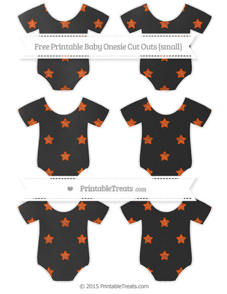 Free Orange Star Pattern Chalk Style Small Baby Onesie Cut Outs