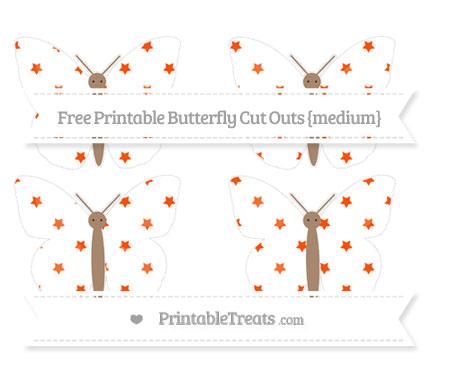 Free Orange Star Pattern Medium Butterfly Cut Outs