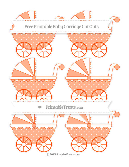 Free Orange Star Pattern Small Baby Carriage Cut Outs