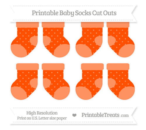 Free Orange Star Pattern Small Baby Socks Cut Outs