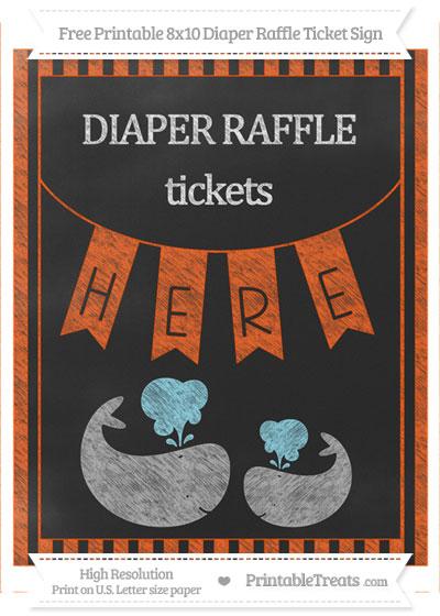 Free Orange Striped Chalk Style Baby Whale 8x10 Diaper Raffle Ticket Sign