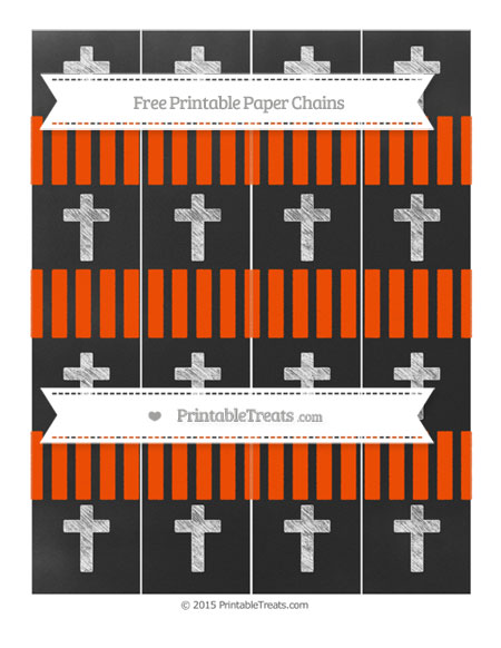 Free Orange Striped Chalk Style Cross Paper Chains