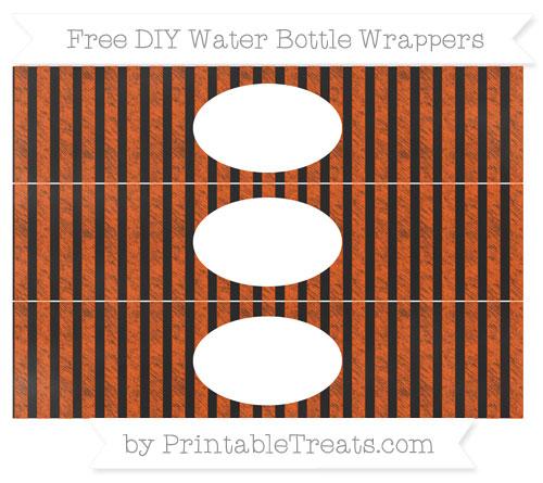Free Orange Striped Chalk Style DIY Water Bottle Wrappers