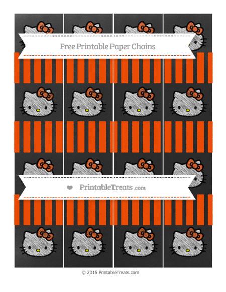 Free Orange Striped Chalk Style Hello Kitty Paper Chains