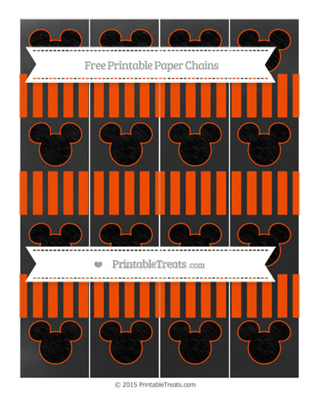 Free Orange Striped Chalk Style Mickey Mouse Paper Chains