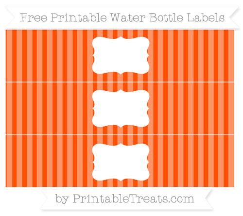 Free Orange Striped Water Bottle Labels