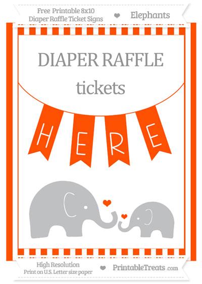 Free Orange Striped Elephant 8x10 Diaper Raffle Ticket Sign