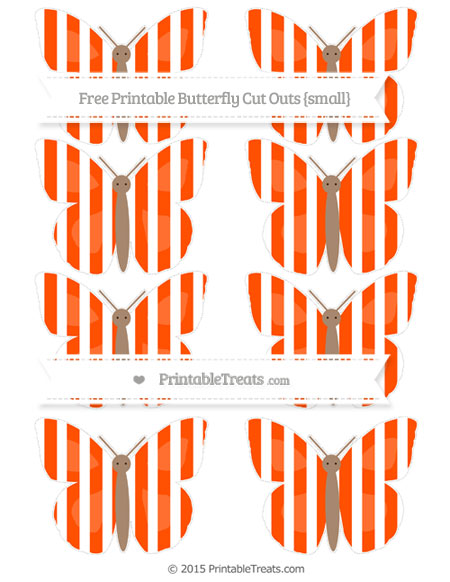 Free Orange Striped Small Butterfly Cut Outs