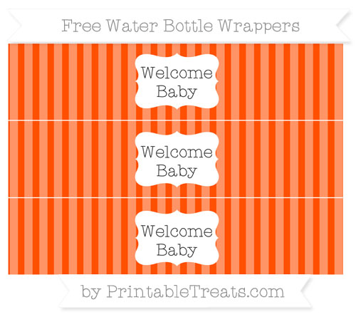 Free Orange Striped Welcome Baby Water Bottle Wrappers