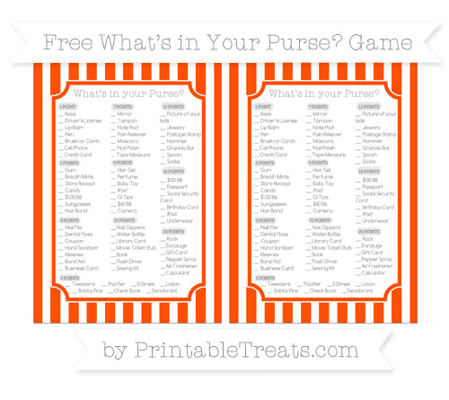 Free Orange Striped What's in Your Purse Baby Shower Game