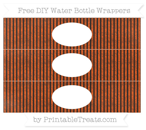 Free Orange Thin Striped Pattern Chalk Style DIY Water Bottle Wrappers