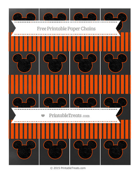 Free Orange Thin Striped Pattern Chalk Style Mickey Mouse Paper Chains