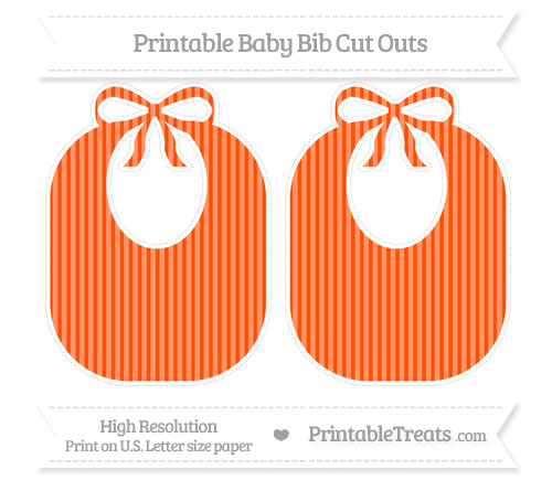 Free Orange Thin Striped Pattern Large Baby Bib Cut Outs