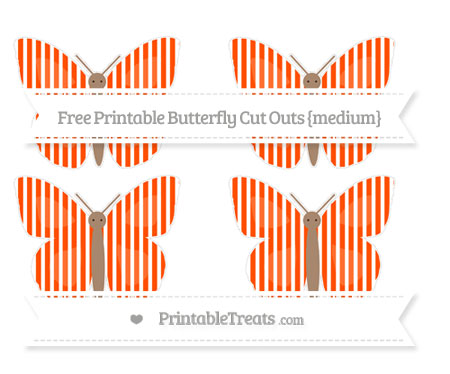 Free Orange Thin Striped Pattern Medium Butterfly Cut Outs