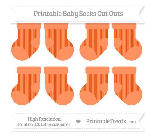 Free Orange Thin Striped Pattern Small Baby Socks Cut Outs