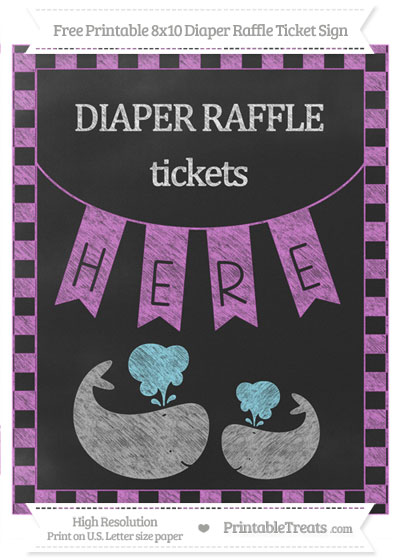 Free Orchid Checker Pattern Chalk Style Baby Whale 8x10 Diaper Raffle Ticket Sign