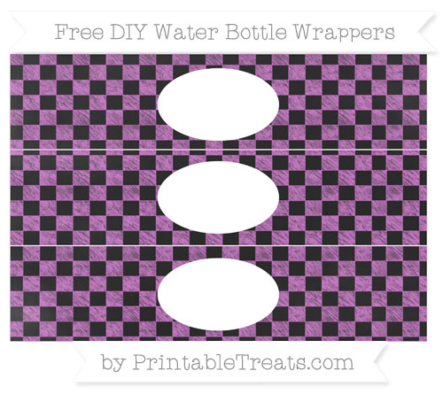 Free Orchid Checker Pattern Chalk Style DIY Water Bottle Wrappers