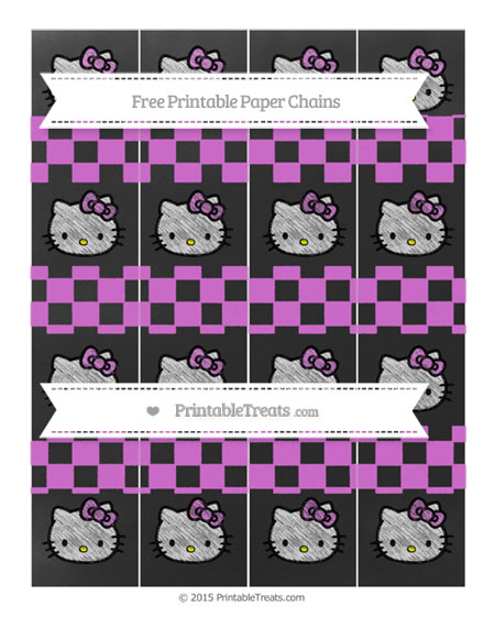 Free Orchid Checker Pattern Chalk Style Hello Kitty Paper Chains