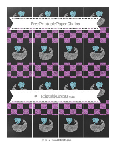 Free Orchid Checker Pattern Chalk Style Whale Paper Chains