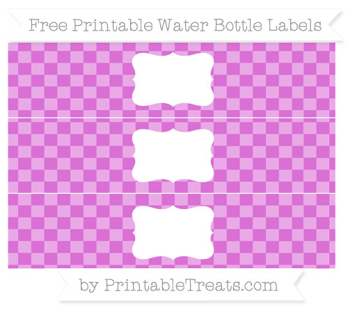Free Orchid Checker Pattern Water Bottle Labels