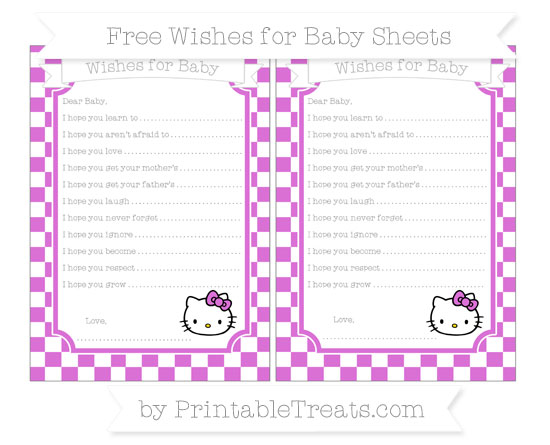 Free Orchid Checker Pattern Hello Kitty Wishes for Baby Sheets