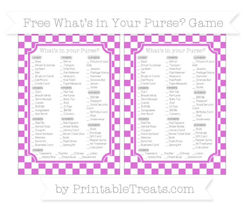 Free Orchid Checker Pattern What's in Your Purse Baby Shower Game