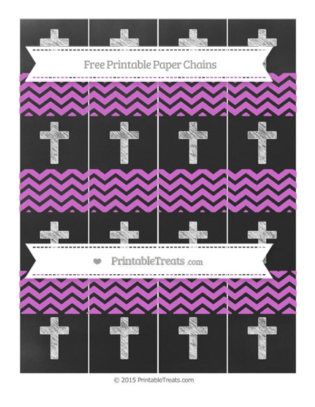 Free Orchid Chevron Chalk Style Cross Paper Chains