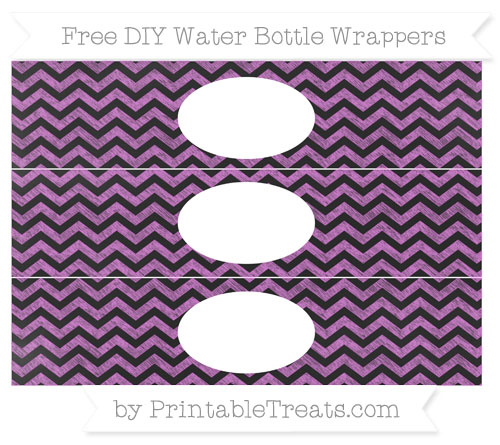 Free Orchid Chevron Chalk Style DIY Water Bottle Wrappers