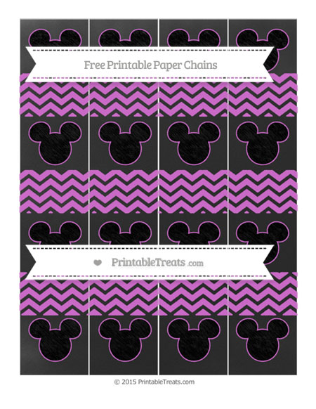 Free Orchid Chevron Chalk Style Mickey Mouse Paper Chains