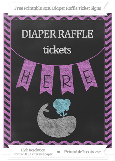 Free Orchid Chevron Chalk Style Whale 8x10 Diaper Raffle Ticket Sign