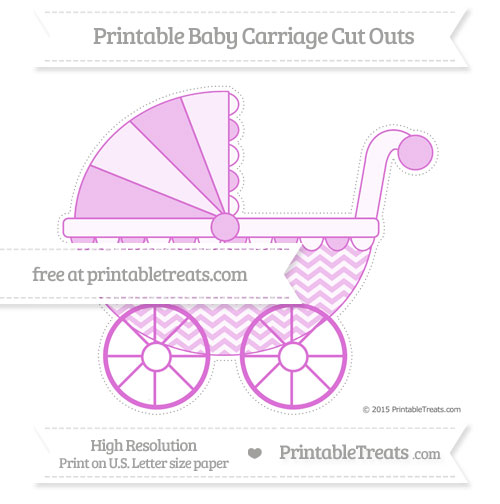 Free Orchid Chevron Extra Large Baby Carriage Cut Outs