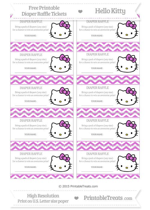 Free Orchid Chevron Hello Kitty Diaper Raffle Tickets