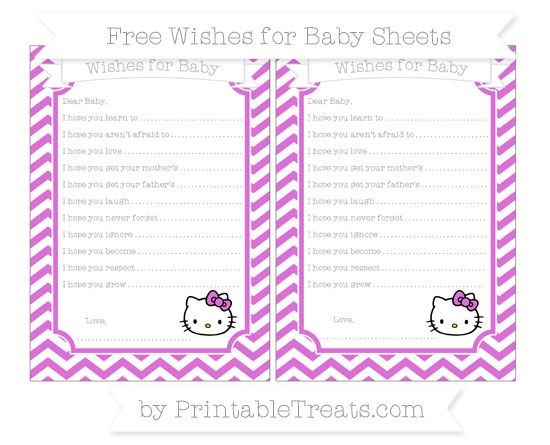 Free Orchid Chevron Hello Kitty Wishes for Baby Sheets