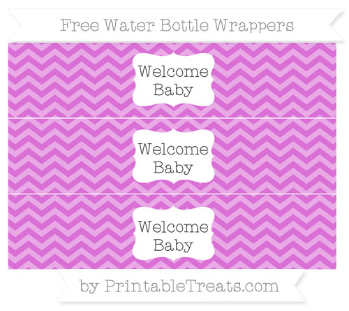 Free Orchid Chevron Welcome Baby Water Bottle Wrappers