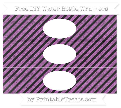 Free Orchid Diagonal Striped Chalk Style DIY Water Bottle Wrappers