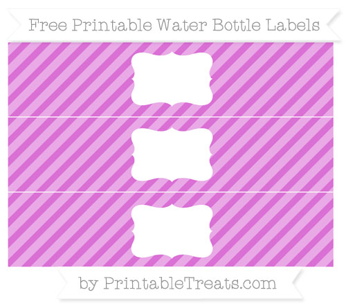 Free Orchid Diagonal Striped Water Bottle Labels