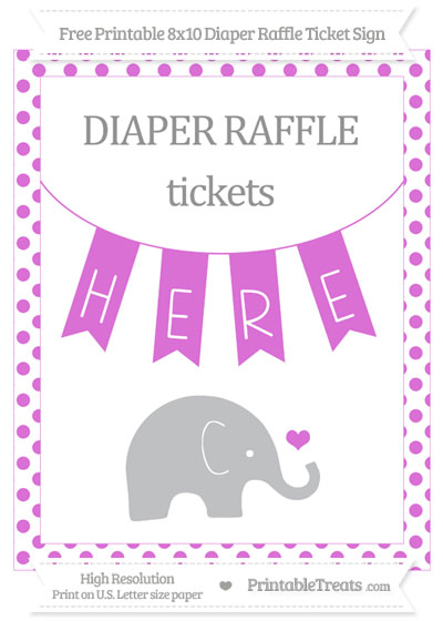 Free Orchid Dotted Baby Elephant 8x10 Diaper Raffle Ticket Sign