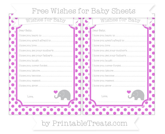 Free Orchid Dotted Pattern Baby Elephant Wishes for Baby Sheets