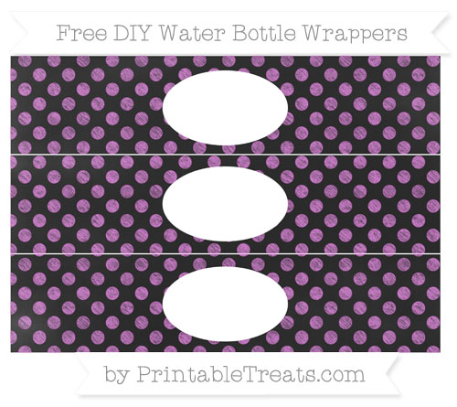 Free Orchid Dotted Pattern Chalk Style DIY Water Bottle Wrappers