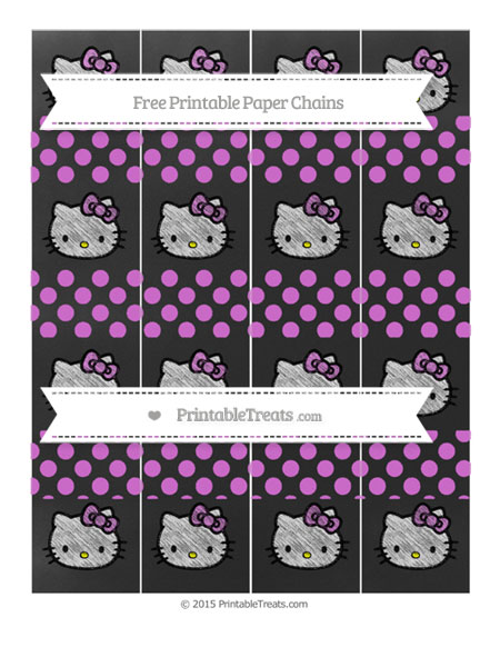 Free Orchid Dotted Pattern Chalk Style Hello Kitty Paper Chains