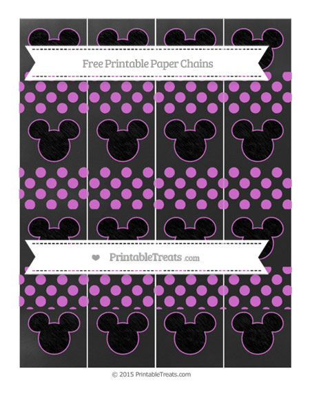 Free Orchid Dotted Pattern Chalk Style Mickey Mouse Paper Chains