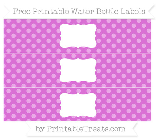 Free Orchid Dotted Pattern Water Bottle Labels