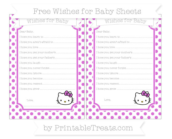 Free Orchid Dotted Pattern Hello Kitty Wishes for Baby Sheets