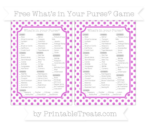 Free Orchid Dotted Pattern What's in Your Purse Baby Shower Game