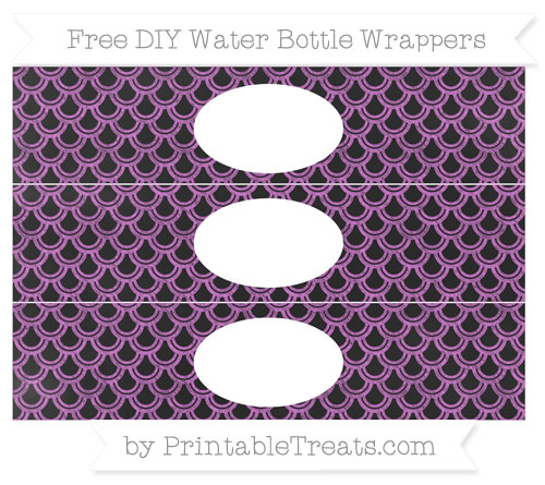 Free Orchid Fish Scale Pattern Chalk Style DIY Water Bottle Wrappers