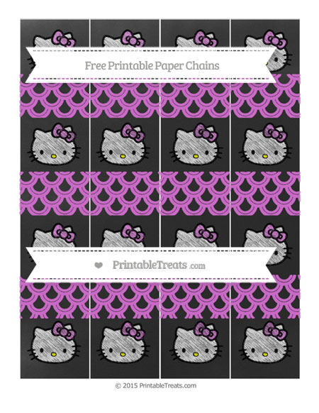Free Orchid Fish Scale Pattern Chalk Style Hello Kitty Paper Chains