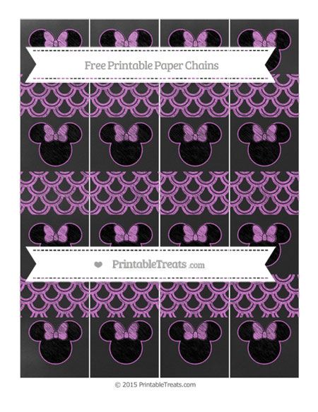 Free Orchid Fish Scale Pattern Chalk Style Minnie Mouse Paper Chains