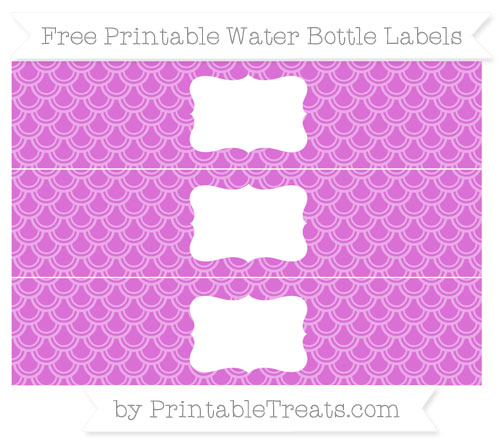 Free Orchid Fish Scale Pattern Water Bottle Labels