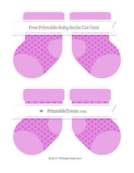 Free Orchid Fish Scale Pattern Medium Baby Socks Cut Outs